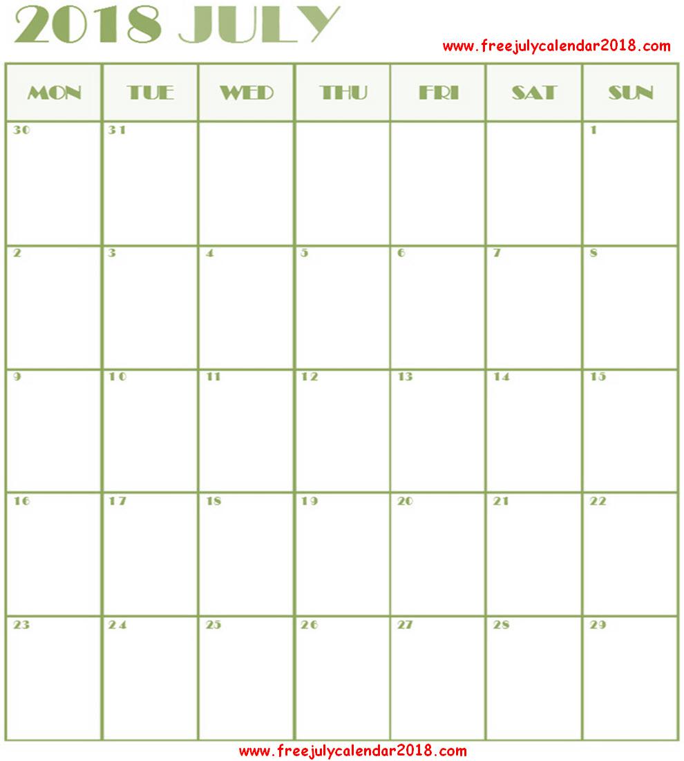 2018 Calendar July Excel