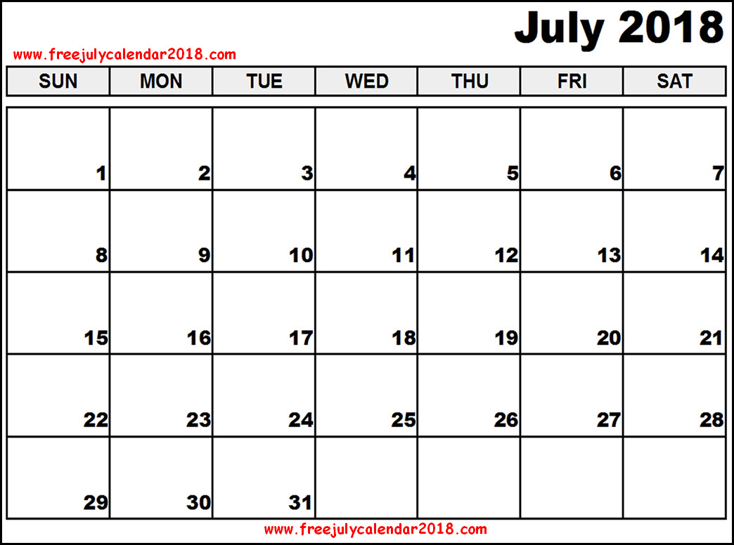 2018 Calendar July Page