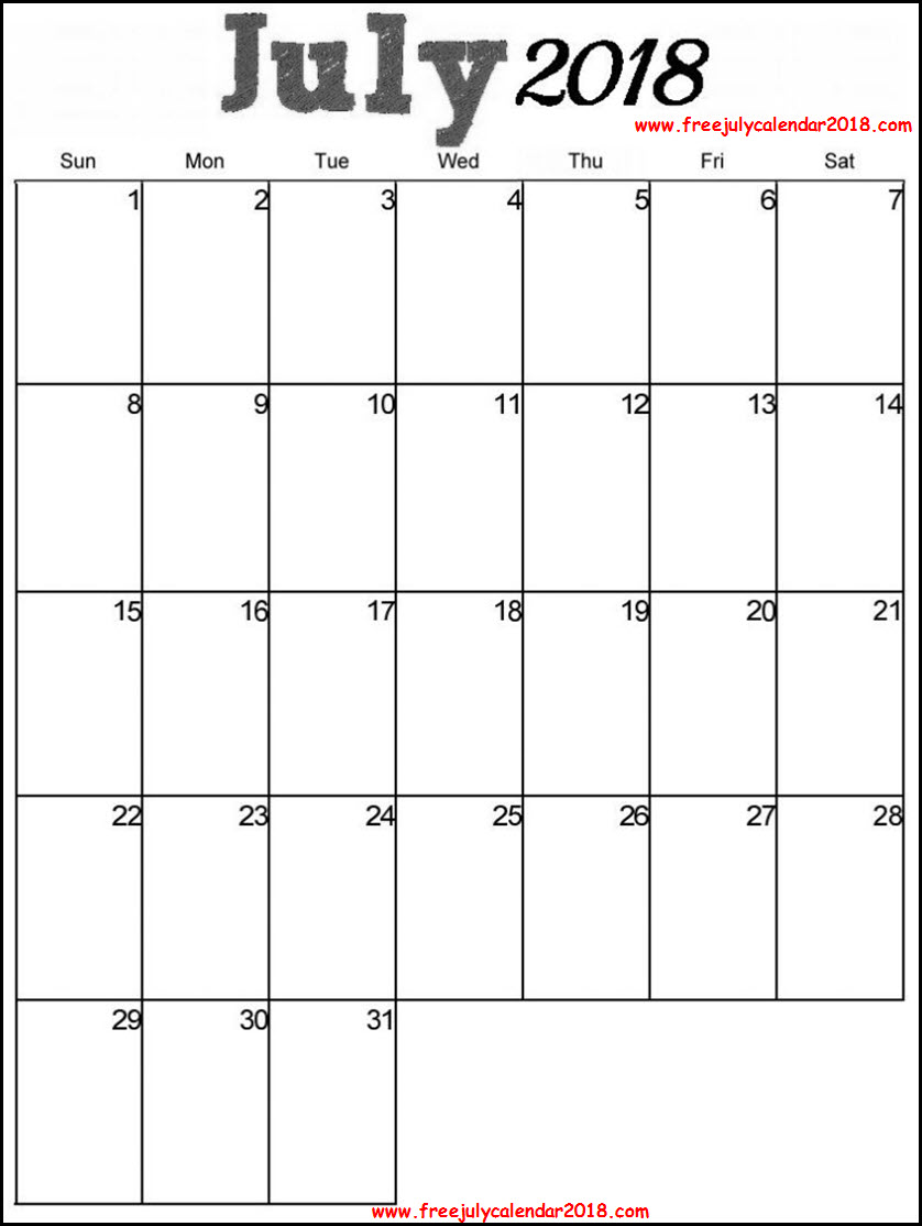 2018 July Calendar Excel