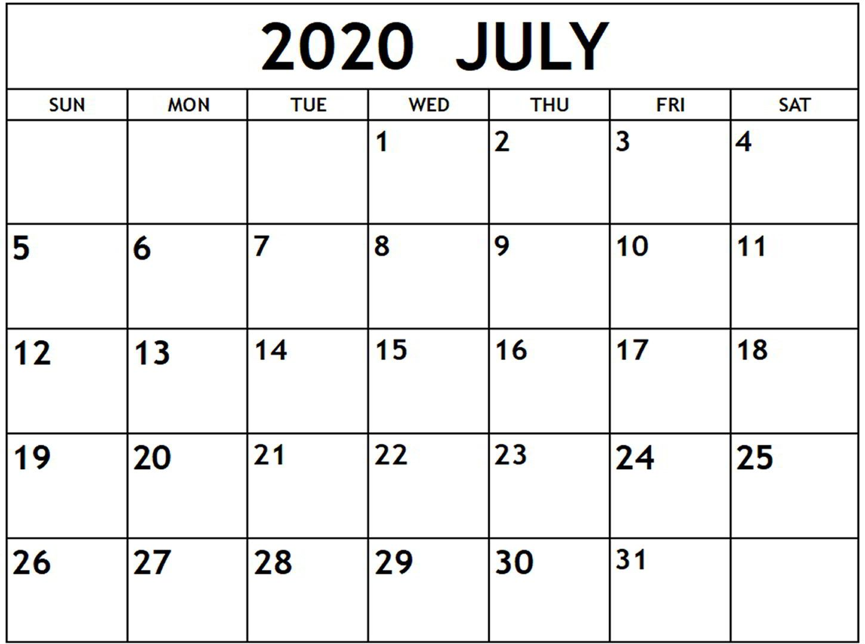 Blank July 2020 Calendar Holidays