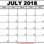 Free July 2018 Calendar Printable Blank Templates