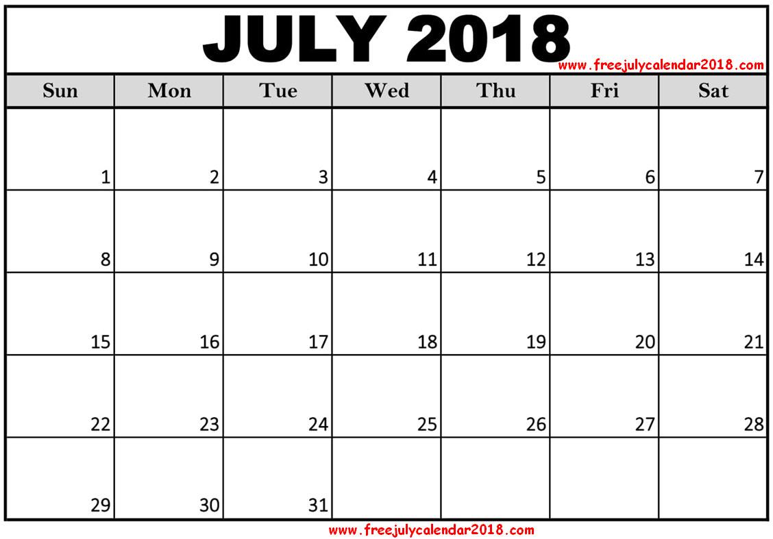 blank august calendar 2018