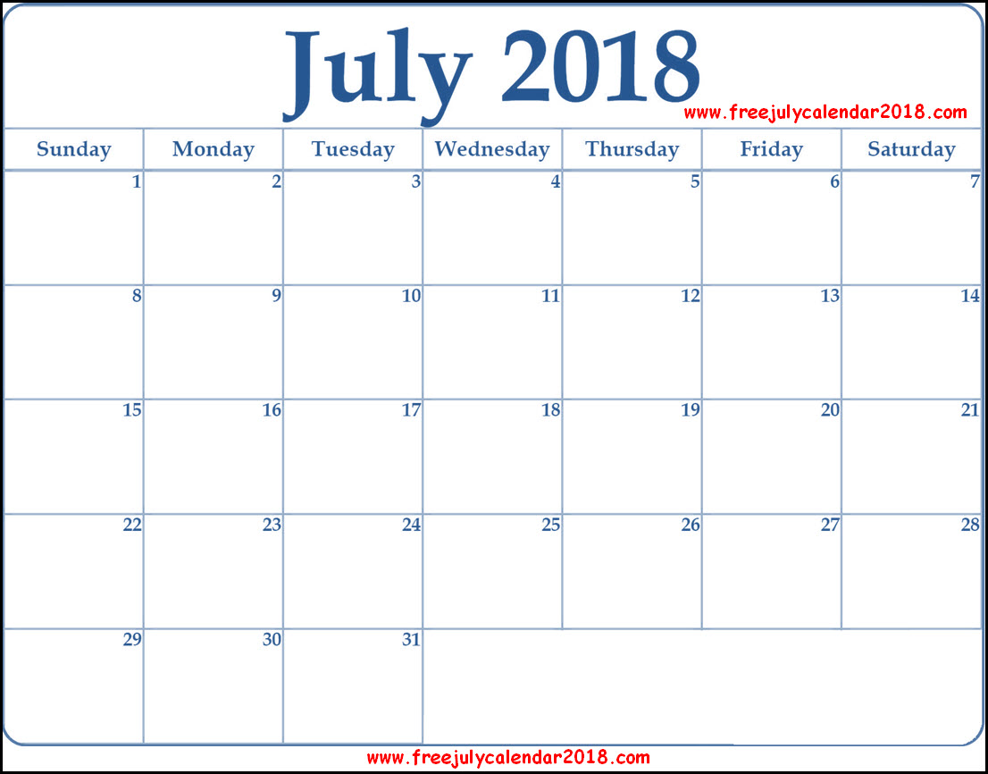 Calendar for July 2018 Template