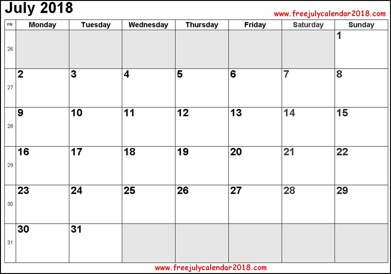 Calendar for July PDF