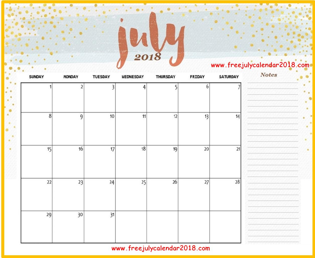 Cute July 2018 Calendar