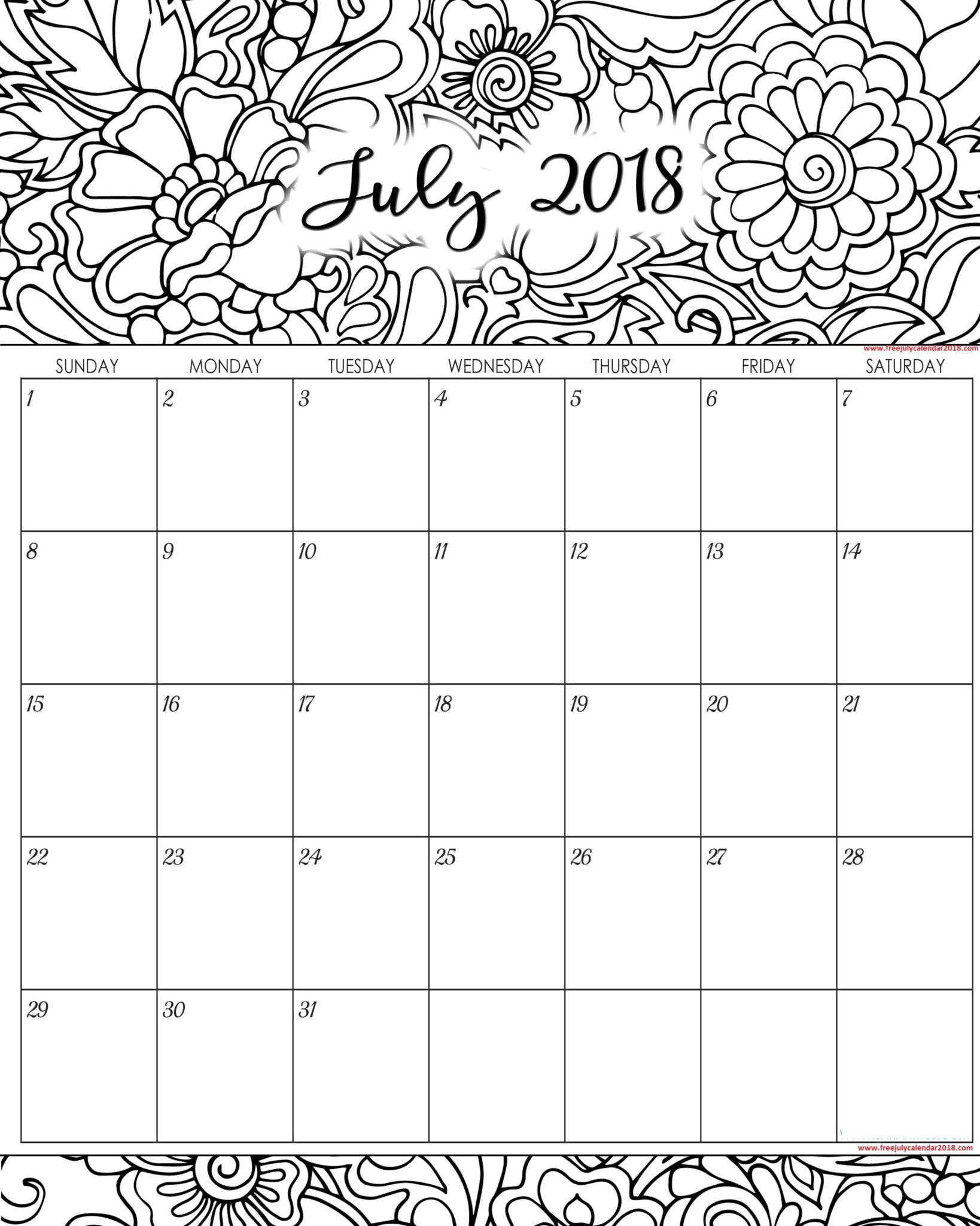 Decorative July 2018 Calendar Template