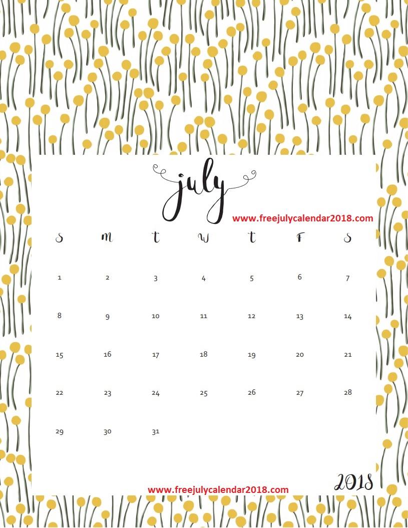 Decorative July 2018 Calendar