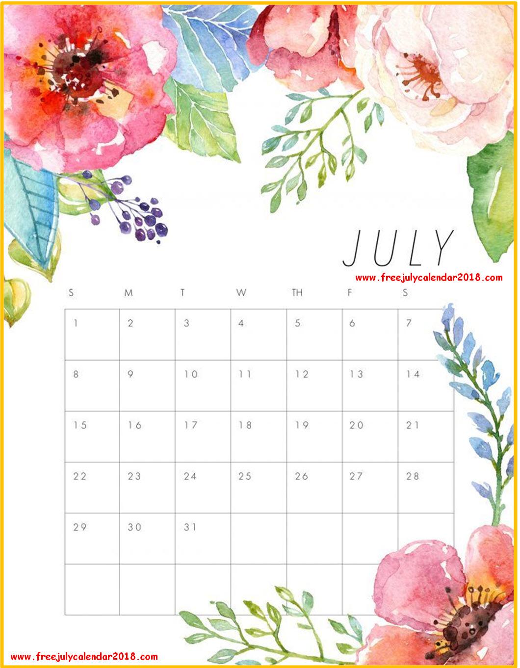 Floral July 2018 Calendar
