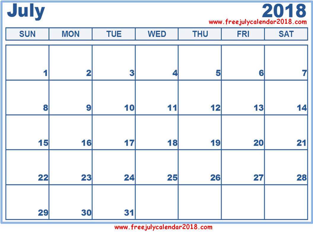 Free July Calendar 2018