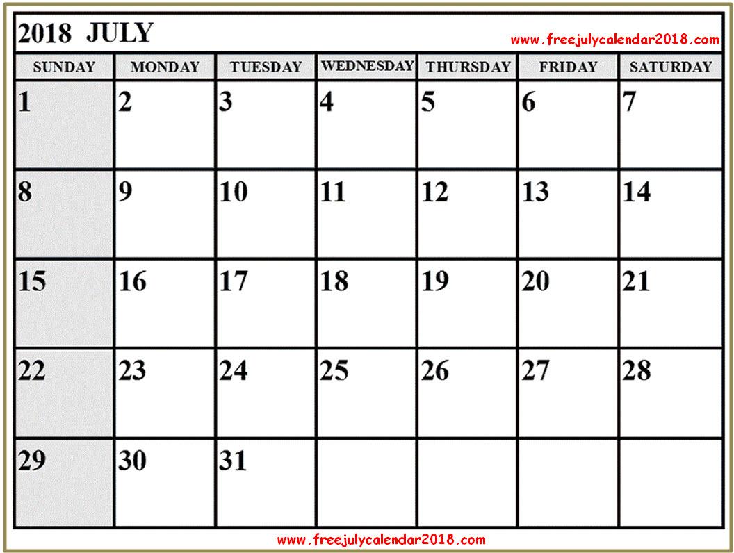 Free Printable July Calendar 2018