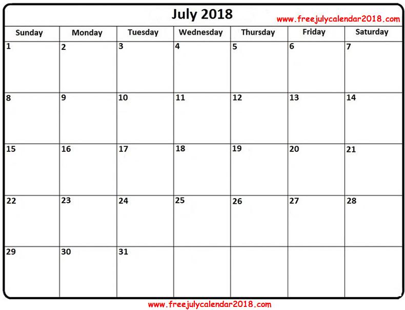 July 2018 Blank Calendar