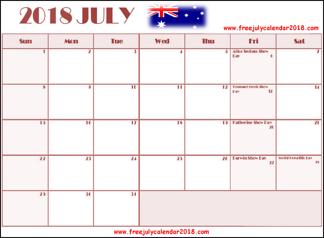 July 2018 Calendar Australia With Holidays