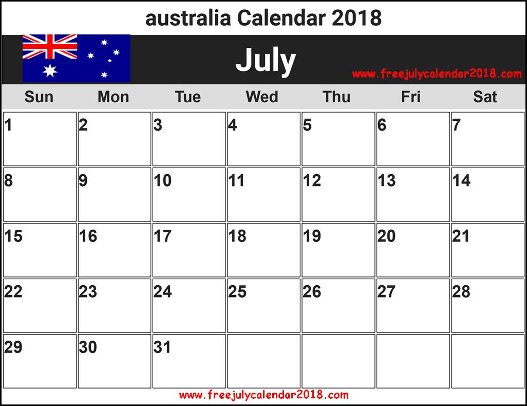 July 2018 Calendar Australia