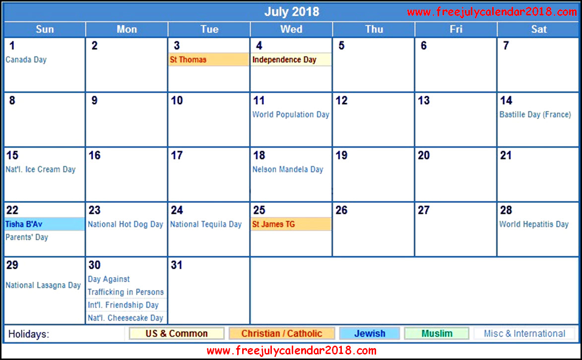 july 2018 calendar canada with holidays