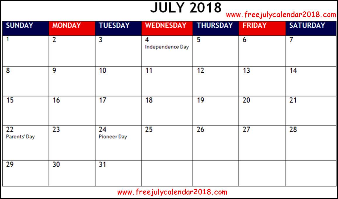 July 2018 Calendar Holidays