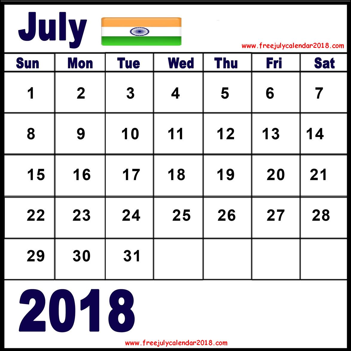 July 2018 Calendar India Holidays
