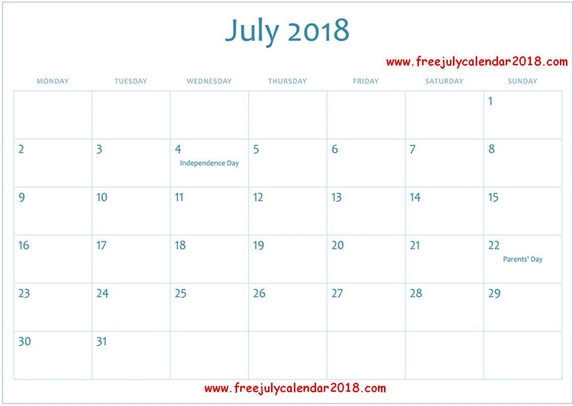 July 2018 Calendar Malaysia with Holidays