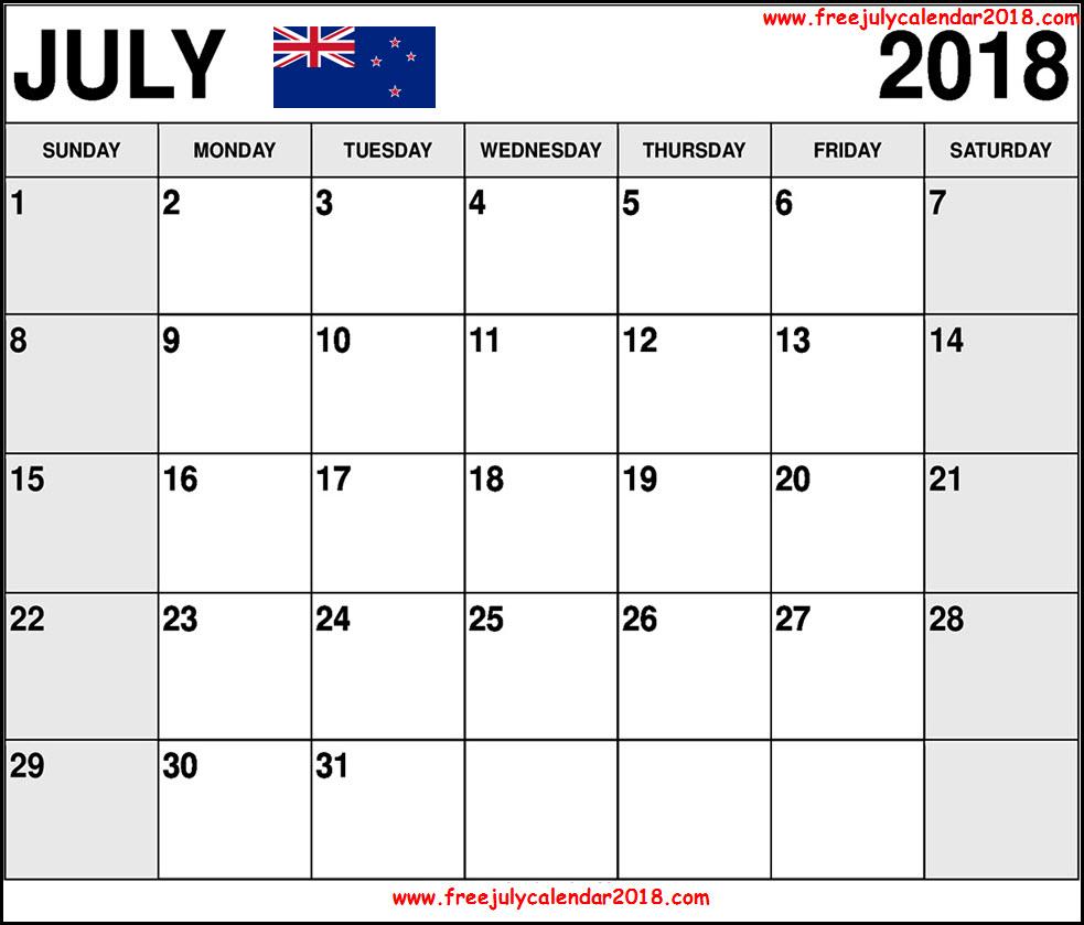 July 2018 Calendar NZ