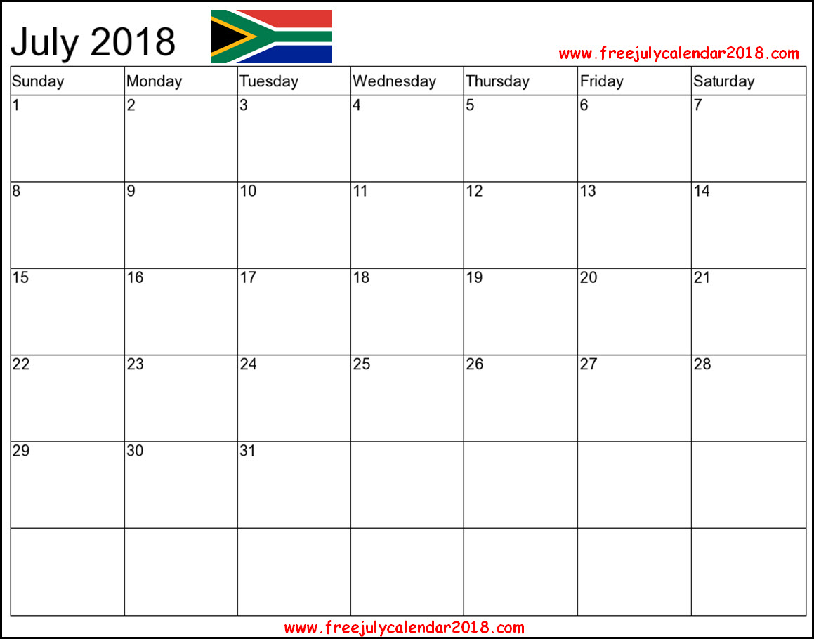 July 2018 Calendar South Africa Holidays