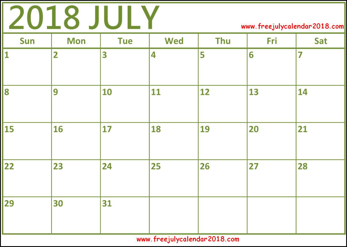 july calendar template 2018