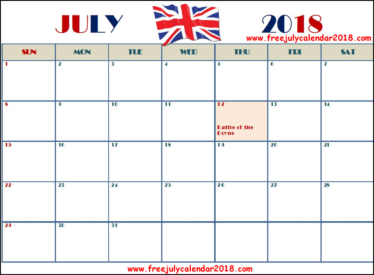 July 2018 Calendar UK with Holidays
