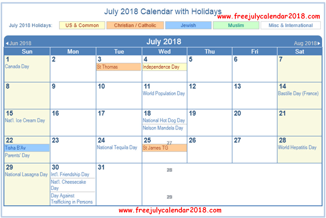 july 2018 calendar usa with holidays
