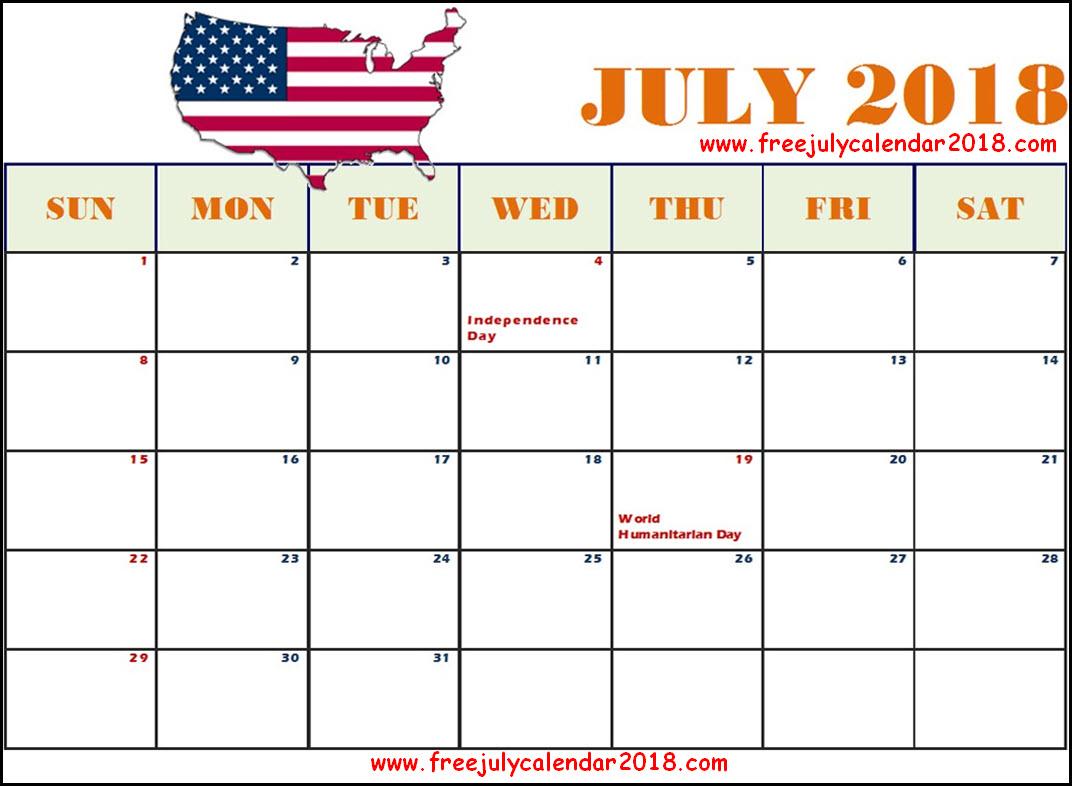 July 2018 Calendar USA, July 2018 Holidays USA