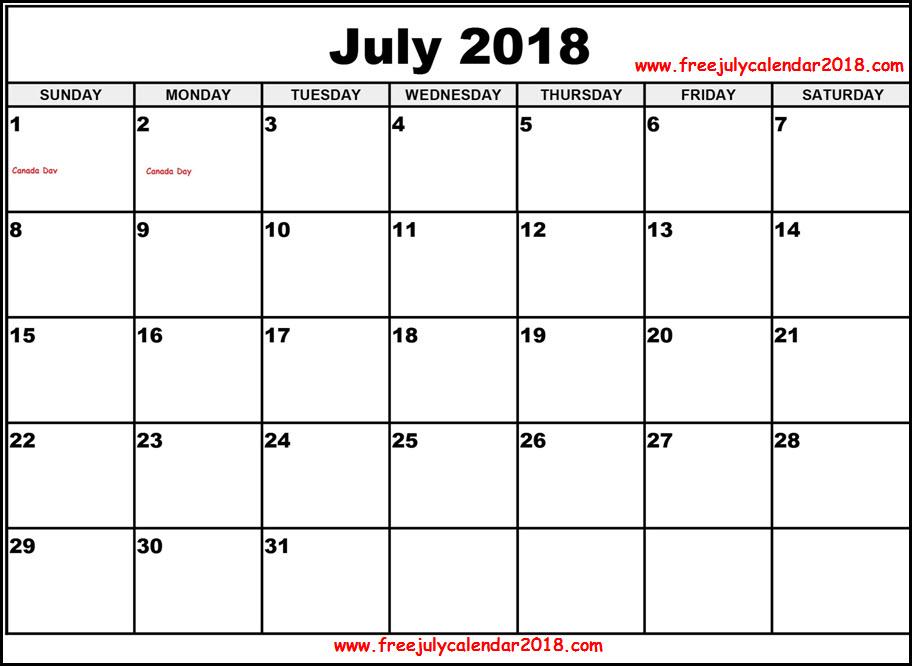 July 2018 Calendar Word Doc