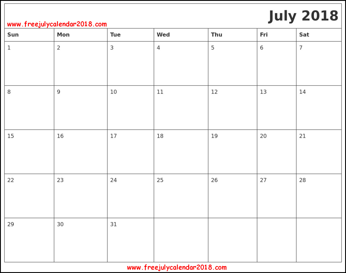July 2018 Calendar in Page