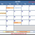 July 2018 Calendar with Holidays Printable