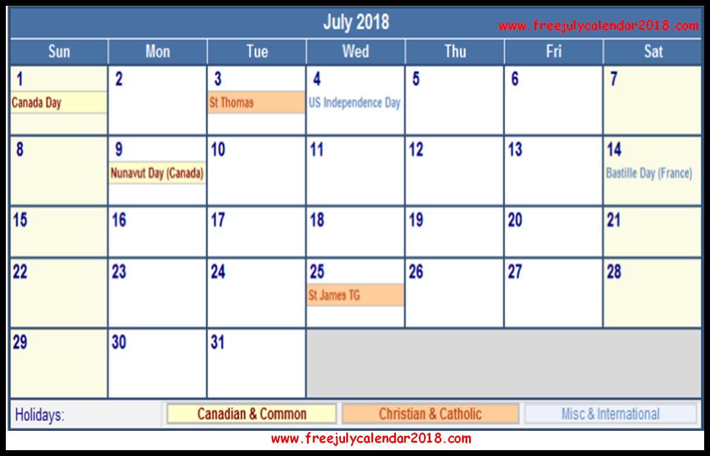 2018 calendar with holidays template