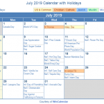 July 2019 Calendar with Holidays Printable | July 2019 Holidays Country Wise
