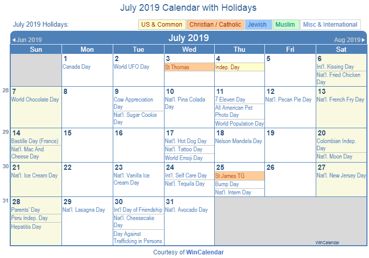 Calendar Holidays.July 2019 Calendar With Holidays Printable July 2019 Holidays
