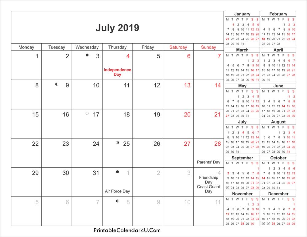 July 2019 Calendar NZ With Holidays