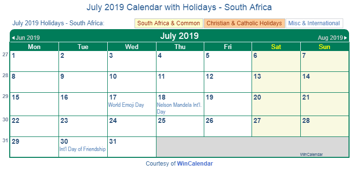 July 2019 Calendar South Africa with Holidays