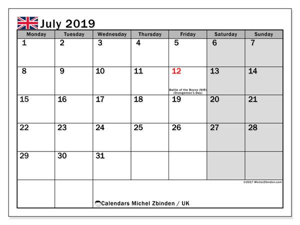 July 2019 Calendar UK With Holidays