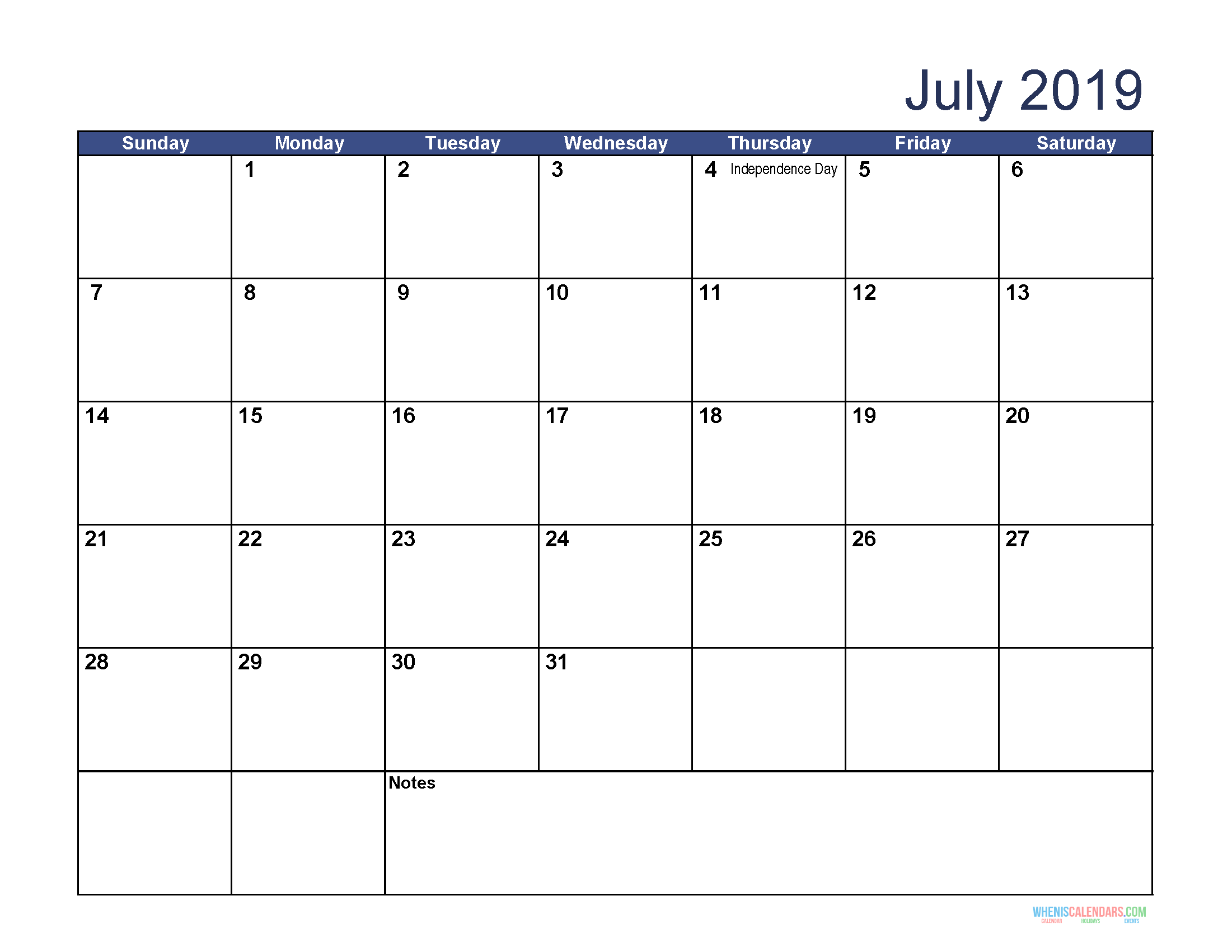 image about Free Printable July Calendar identify July 2019 Calendar with Vacations Printable, July 2019