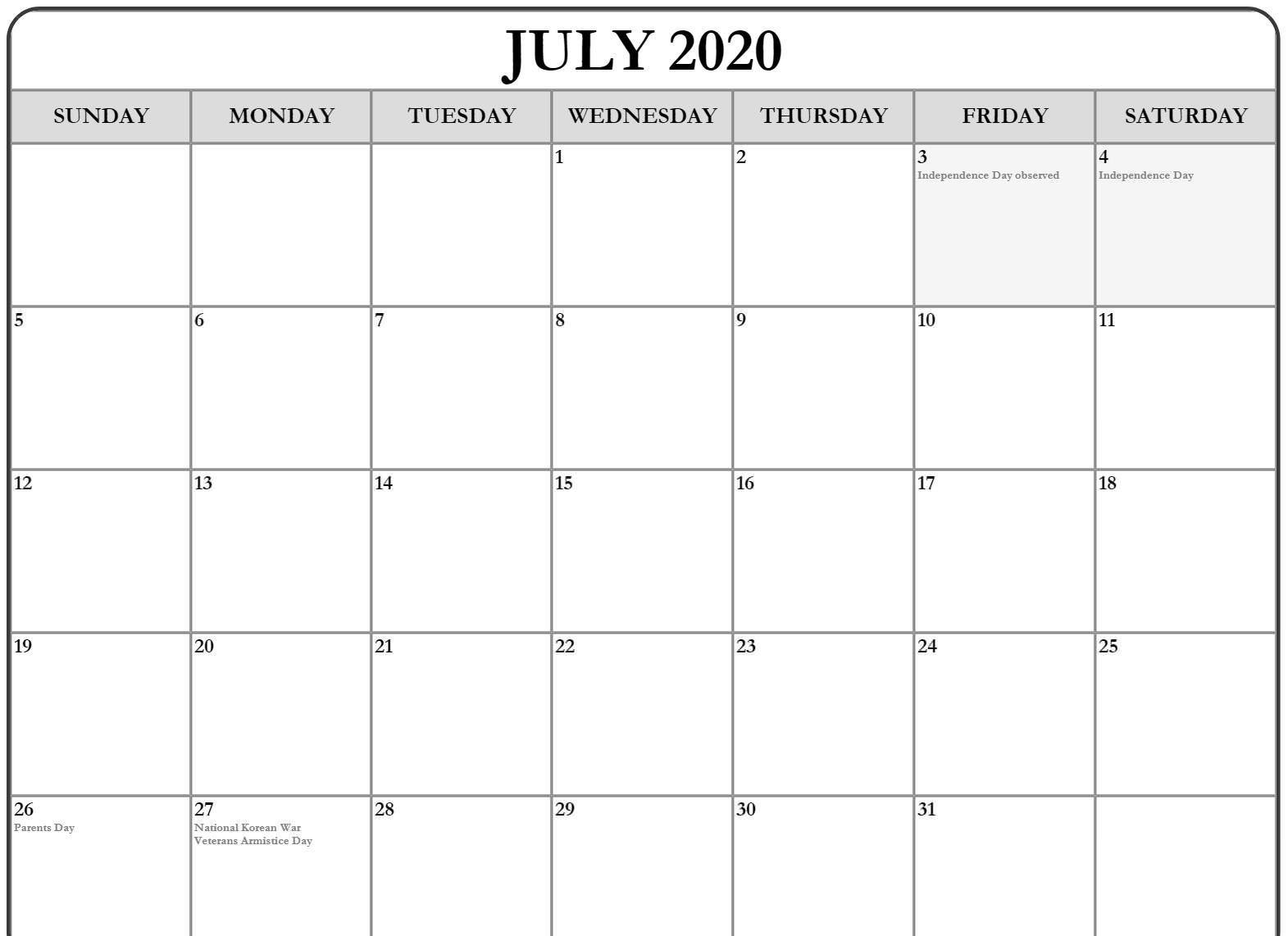 July 2020 Calendar Holidays Australia