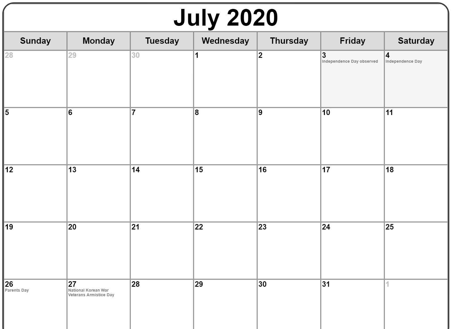 July 2020 Calendar Holidays NZ