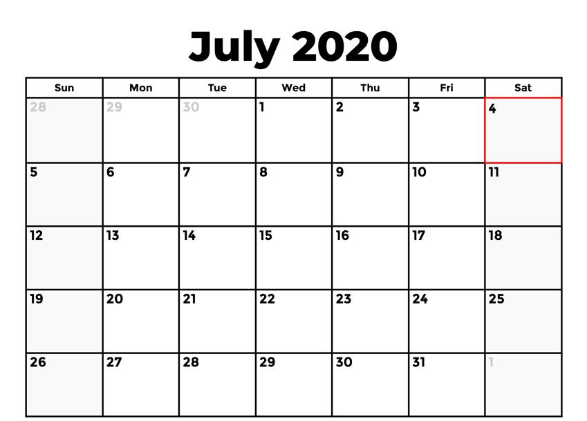 July 2020 Calendar Holidays Template