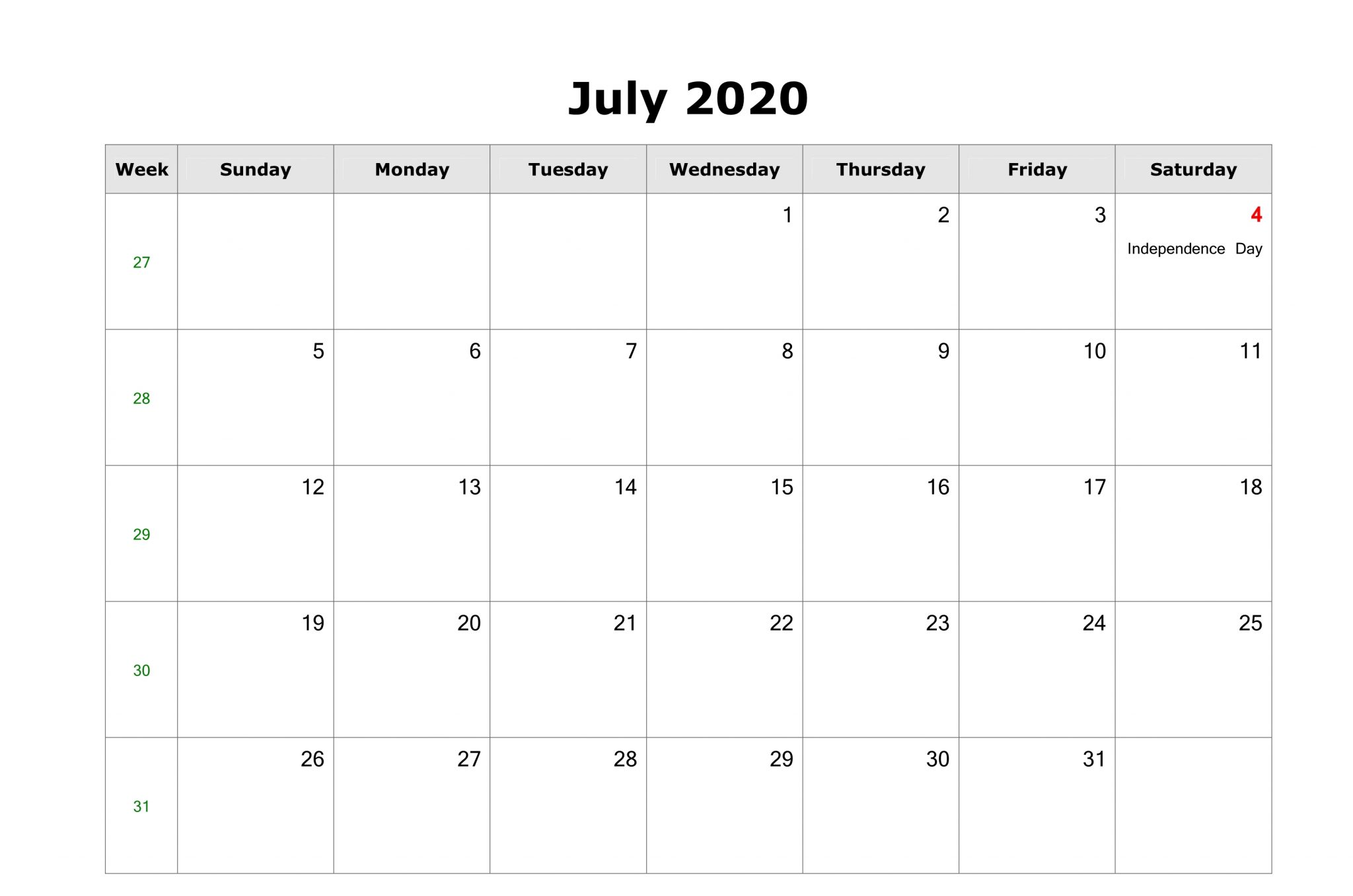 July 2020 Calendar US