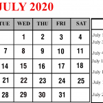 July 2020 Calendar with Holidays Printable | July 2020 Holidays Country Wise