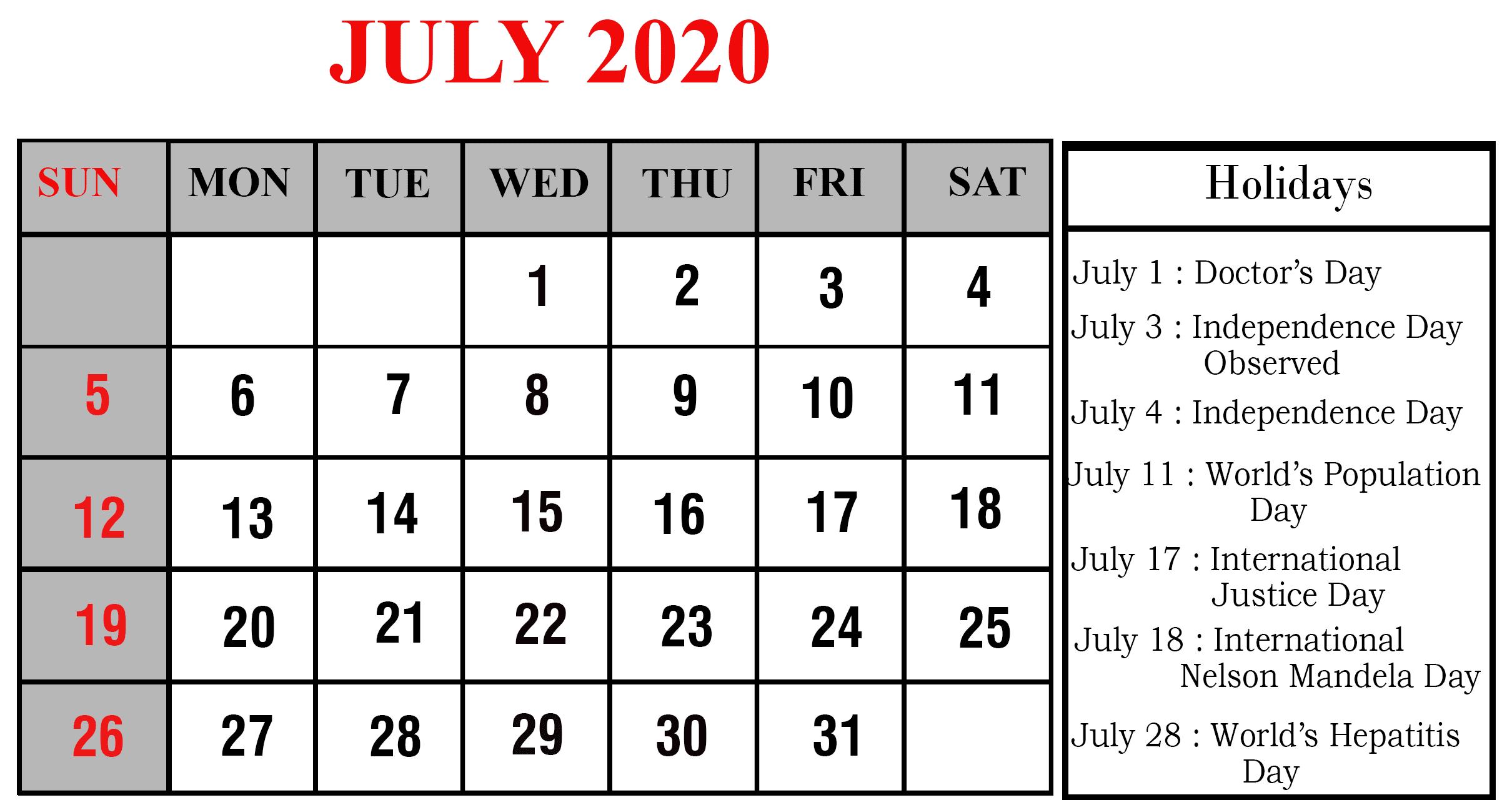 July 2020 Calendar USA Holidays