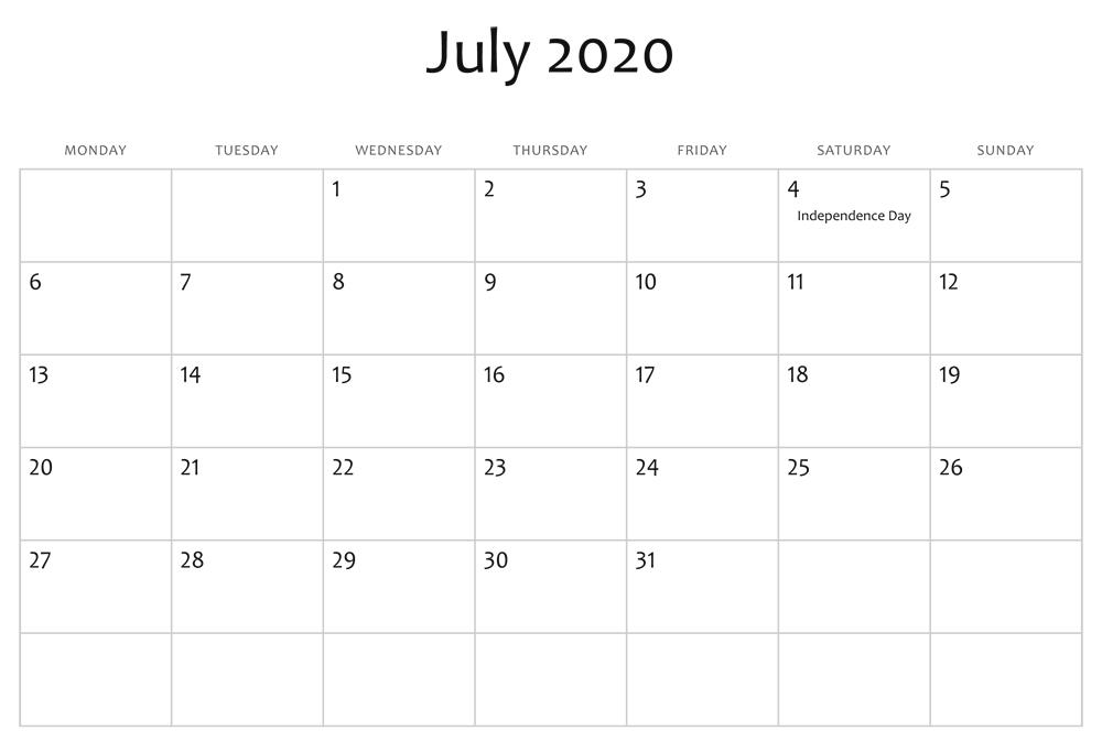 July 2020 Editable Calendar Holidays