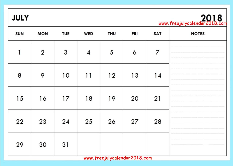 July Calendar 2018 Notes
