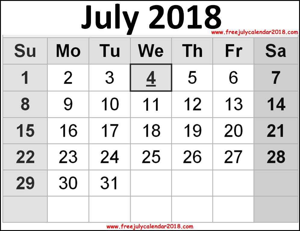 July Calendar 2018 Page