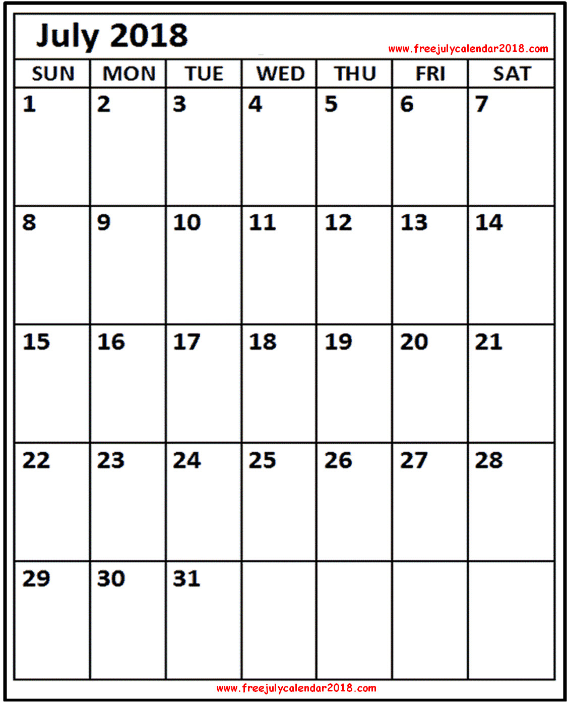 July Calendar 2018 a4