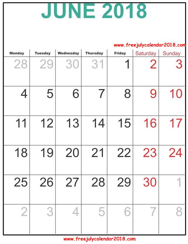 2018 Calendar June Excel