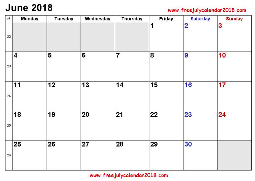 2018 Calendar June Page