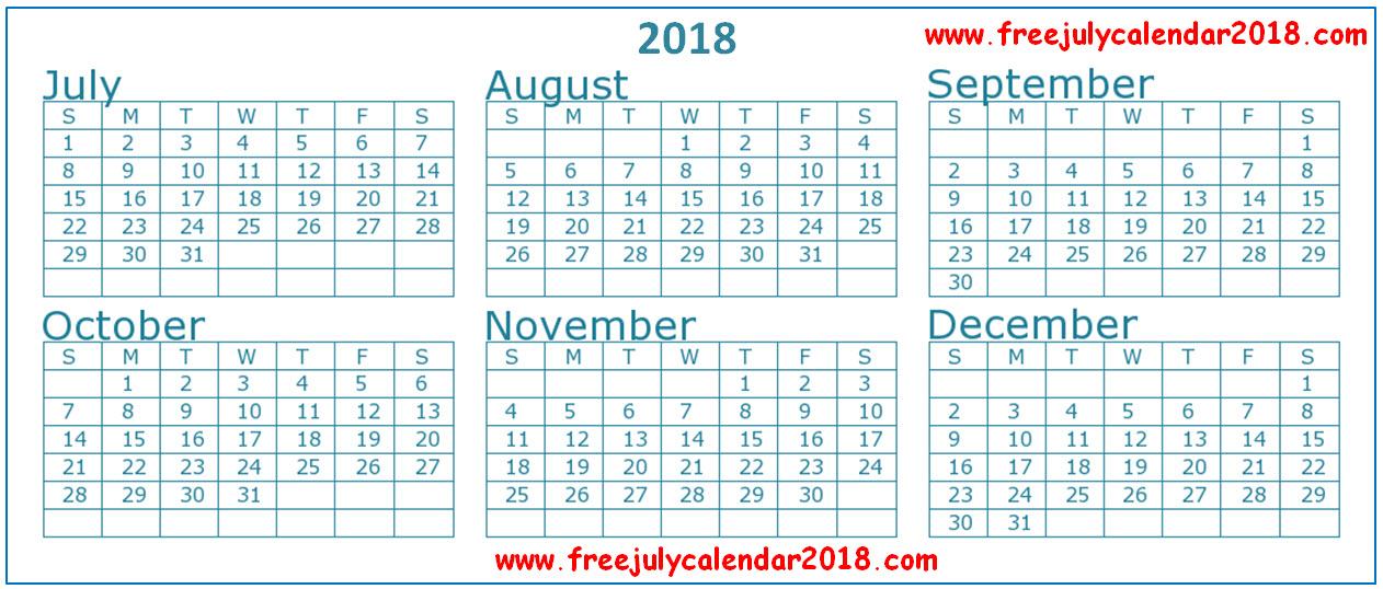 2018 July August September Calendar Printable Template